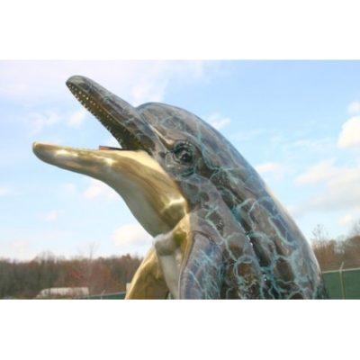 Umelecké Sochy Delfín na vlne (špeciálna patina)