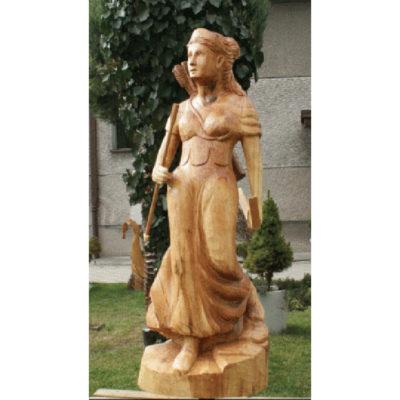 Umelecké Sochy Artemis na love - drevená socha