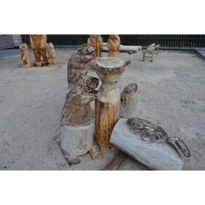 Umelecké Sochy Drevená bobria rodinka