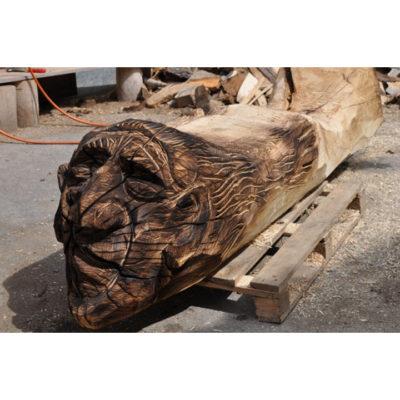 Umelecké Sochy Čarodejnica - zahradná drevená lavička