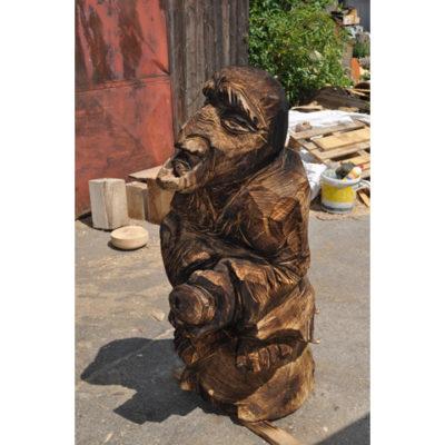 Umelecké Sochy Drevená čarodejnica na metle