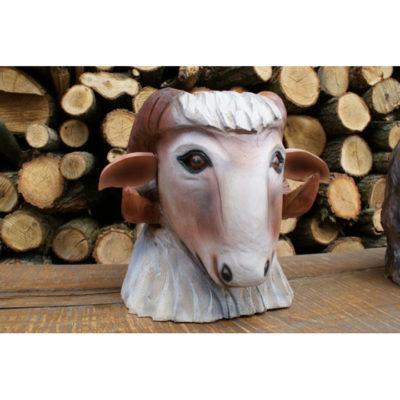 Umelecké Sochy Drevená hlava kravičky