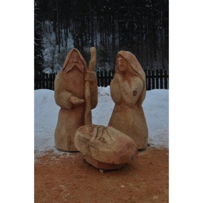 Umelecké Sochy Drevená svätá rodinka II