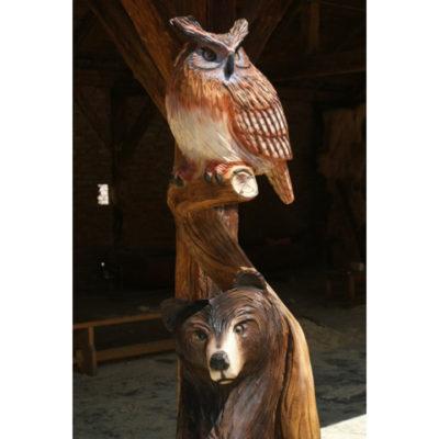 Umelecké Sochy Drevený medveď a sova