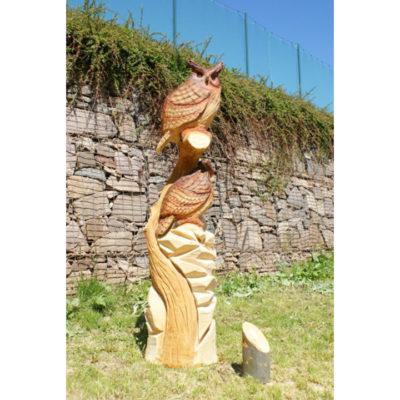 Umelecké Sochy Dve drevené sovy