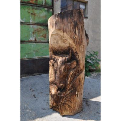 Umelecké Sochy Drevená Krava s teliatkom