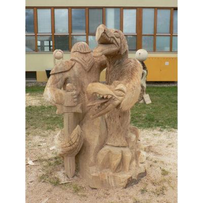 Umelecké Sochy Legenda o Jiřím a drakovi - drevená socha