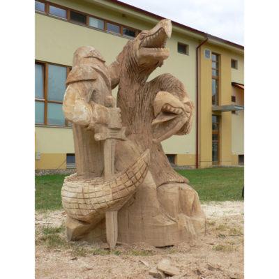 Legenda o jiřím a drakovi - socha z dreva