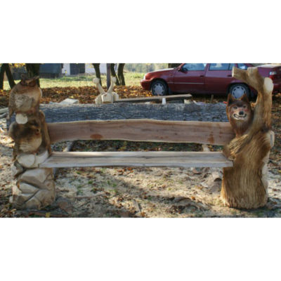 Umelecké Sochy Drevená lesná lavička