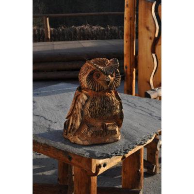 Malá drevená sovička - socha z dreva