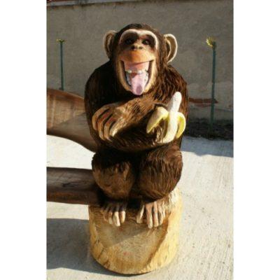 Umelecké Sochy Drevená opičia lavička