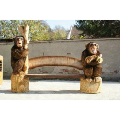 Opičia lavička - socha z dreva
