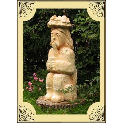 Umelecké Sochy Sediaci vodník na dreve