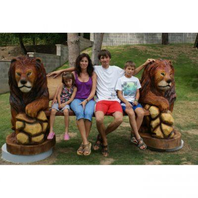 Umelecké Sochy Drevená levia lavička