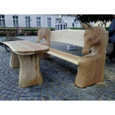Umelecké Sochy Konská drevená lavička