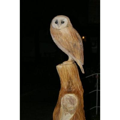 Sova plamienka - socha z dreva